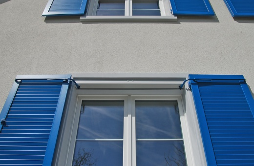 Blue window shutters